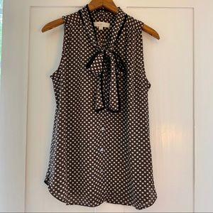 LOFT a sleeveless blouse with tie at neck, medium